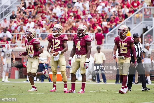 Florida State offensive players WR Nyqwan Murray QB Deondre Francois RB Dalvin Cook and WR Travis Rudolph during the game between the Florida State...