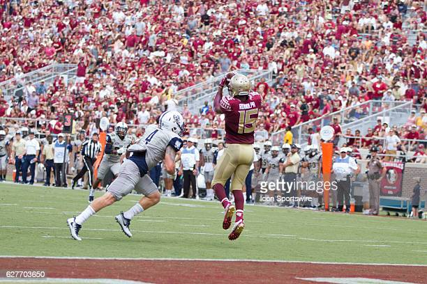 Florida State WR Travis Rudolph catches the ball for a touchdown during the game between the Florida State Seminoles and the Charleston Southern...