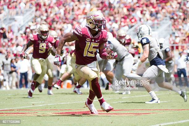 Florida State WR Travis Rudolph running a route during the game between the Florida State Seminoles and the Charleston Southern Buccaneers at Doak...