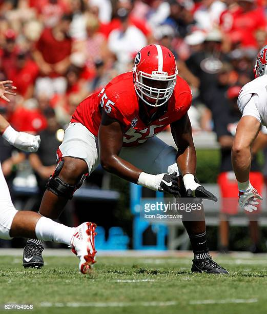 Georgia Bulldogs guard Dyshon Sims in first half action The Georgia Bulldogs defeated the Nicholls State Colonels 26 24 at Sanford stadium in Athens...