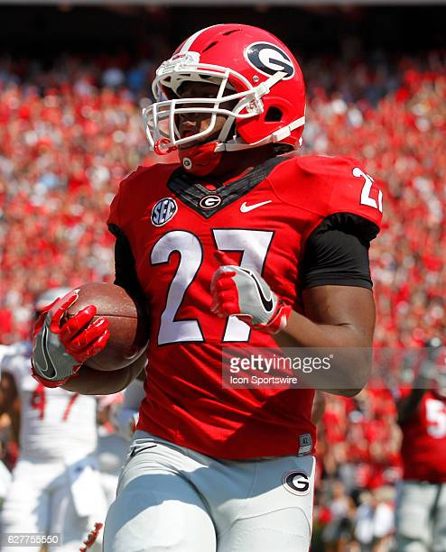 Georgia Bulldogs running back Nick Chubb scores a first half touchdown at Samford stadium in Athens Georgia
