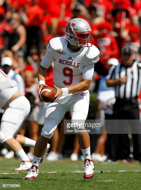 Nicholls State Colonels quarterback Chase Fourcade in first half action at Samford stadium in Athens Georgia