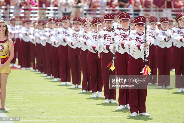 The Marching Chiefs and majorettes perform during the game between the Florida State Seminoles and the Charleston Southern Buccaneers at Doak...