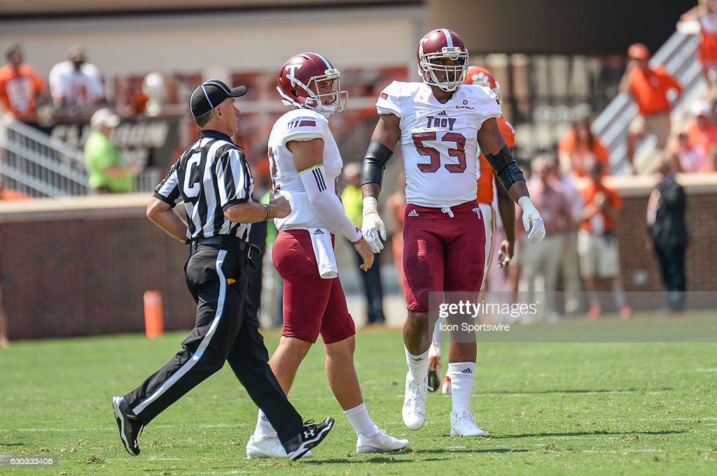 Troys offensive lineman Antonio Garcia (53) during 1st half action between the Clemson Tigers and the Troy Trojans at Memorial Stadium in Clemson, SC. (Photo by Doug Buffington/ Icon Sportswire).