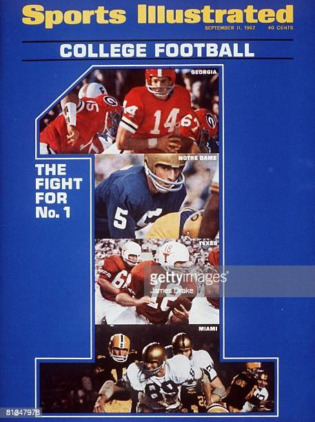 September 11, 1967 Sports Illustrated via Getty Images Cover, College Football: Georgia QB Kirby Moore in action vs Florida, Notre Dame QB Terry...