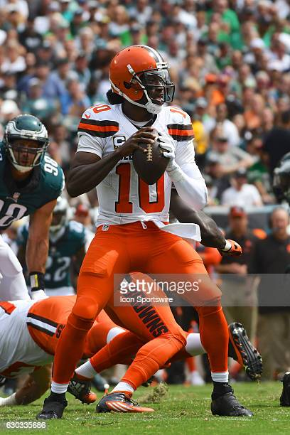 Cleveland Browns Quarterback Robert Griffin III [11763] drops back to pass during a National Football League game between the Cleveland Browns and...