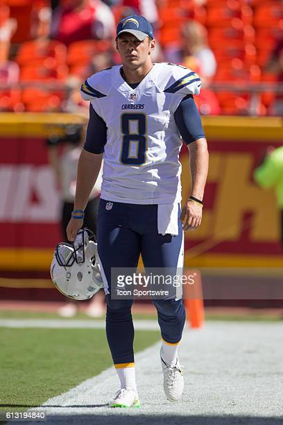San Diego Chargers punter Drew Kaser during theNFL AFC football game between the San Diego Chargers and the Kansas City Chiefs at Arrowhead Stadium...