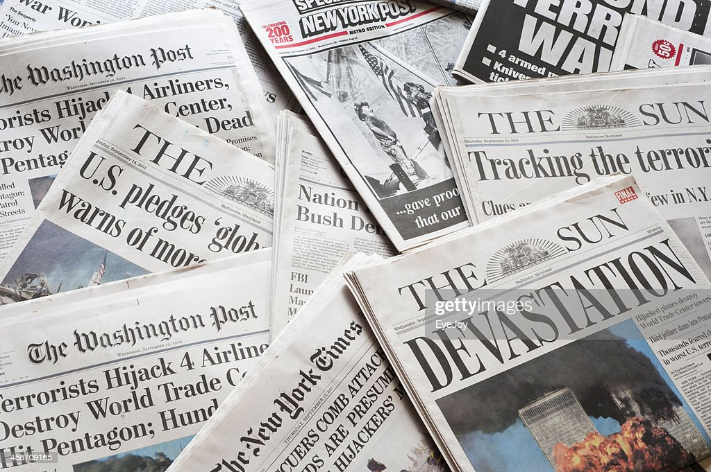 September 11 Newspapers and Headlines : Stock Photo