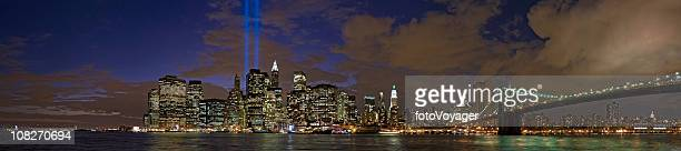 september 11 tribute in light new york manhattan panorama - world trade center memorial stock pictures, royalty-free photos & images