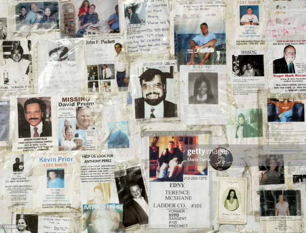 September 11th missing person posters are shown attached to a wall outside Saint Vincent's Hospital August 22, 2002 in New York City. The posters have been attached to the wall since the September 11, 2001 terrorist attacks took place in New York City.