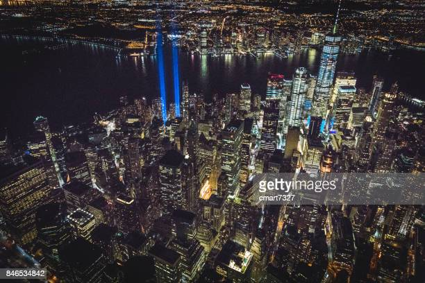 september 11th — tribute in light. new york, ny usa - 911 remembrance stock pictures, royalty-free photos & images