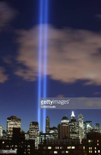 september 11th world trade center memorial lights new york 2006 - 2001 stock pictures, royalty-free photos & images