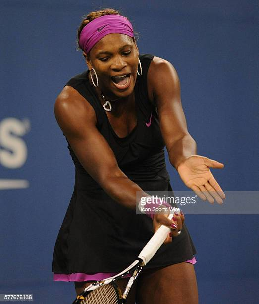 Serena Williams yelling at herself during her 64 75 semi final loss to Kim Clijsters of Belgium in the US Open at the Billie Jean King National...