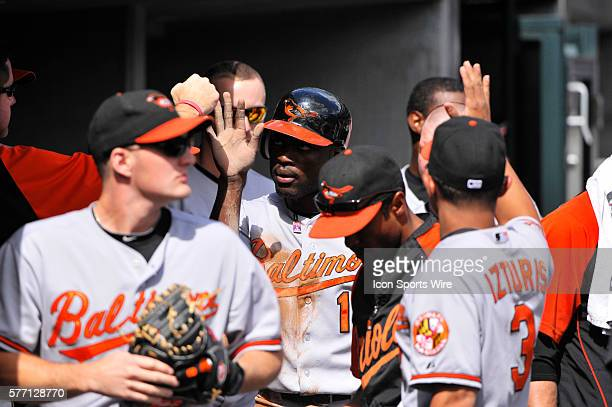 September 12 2010 Detroit MI Baltimore Orioles left fielder Felix Pie gets congratulation from the dugout after scoring in the fifth inning in the...