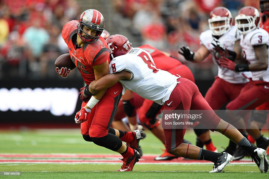 best service 42160 f584e Rutgers Scarlet Knights tight end Charles Scarff is tackled ...