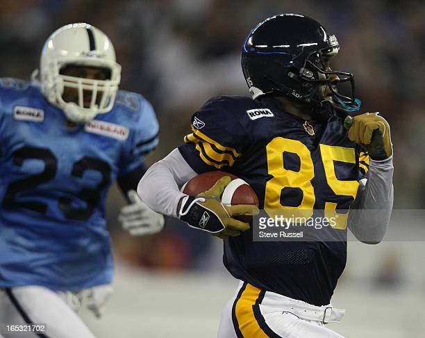 September 12 Milt Stegall makes his second touchdown catch of the game a 92yard pass to break Allan Pitts CFL record 14891 career yards as the...