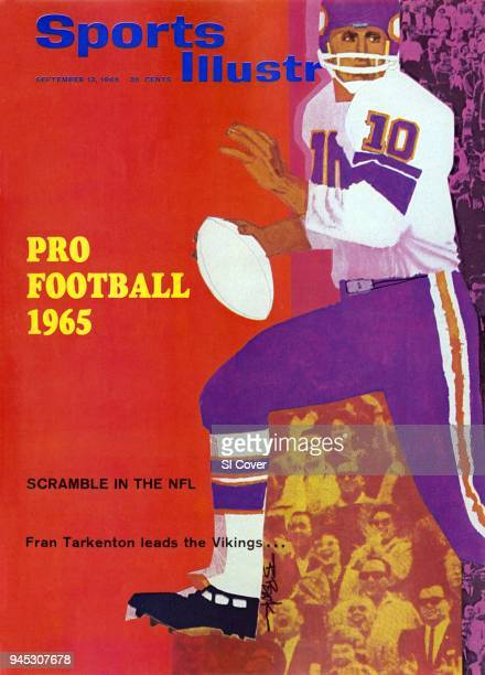 September 13 1965 Sports Illustrated Cover Season Preview Illustration of Minnesota Vikings QB Fran Tarkenton in action painting by Art Department...
