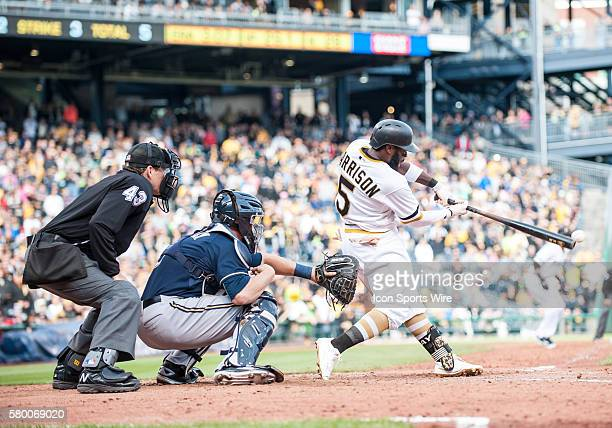 Pittsburgh Pirates third baseman Josh Harrison hits a walkoff single to left field giving the Pittsburgh Pirates a 76 win over the Milwaukee Brewers...