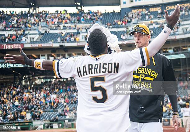 Pittsburgh Pirates third baseman Josh Harrison is hit with a whipped cream pie by starting pitcher AJ Burnett after his walkoff single gave the...