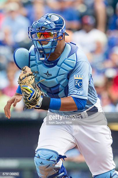Kansas City Royals catcher Salvador Perez during the MLB game between the Boston Red Sox and the Kansas City Royals at Kauffman Stadium in Kansas...