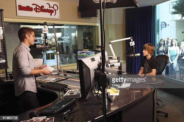 September 15, 2009 - Rising music sensation Justin Bieber came through Radio Disney for a Take Over that included an acoustic performance of his hit...