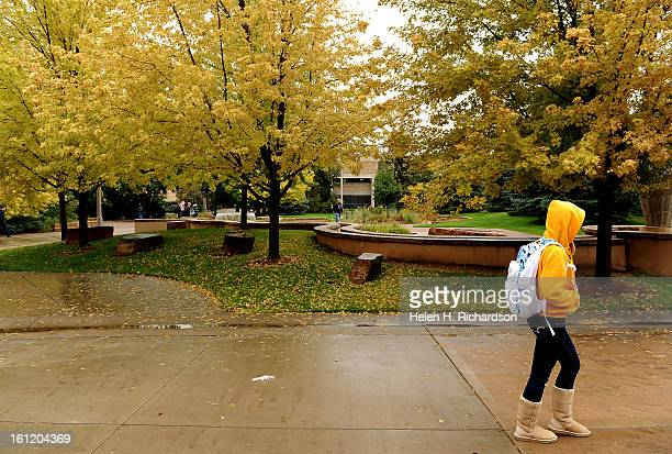 CO September 15 2011 A CSU student heads toward class near the Lory Student Center on the campus Fall seems to be arriving early on the campus at...