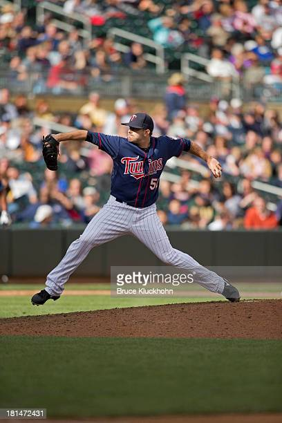 Brian Duensing of the Minnesota Twins pitches to the Tampa Bay Rays on September 15 2013 at Target Field in Minneapolis Minnesota The Twins win 64