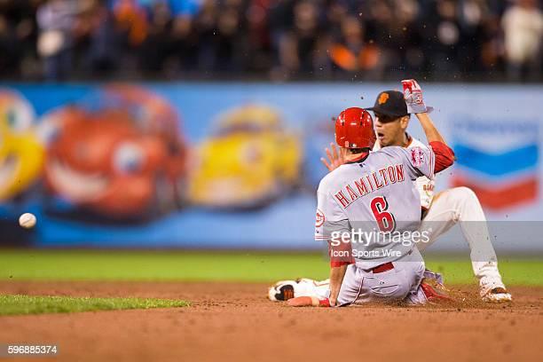 San Francisco, California, USA; Cincinnati Reds center fielder Billy Hamilton steals 2nd base as San Francisco Giants second baseman Ehire Adrianza...