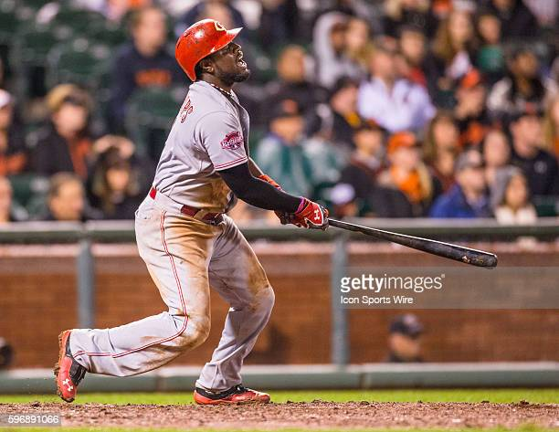 San Francisco California USA Cincinnati Reds second baseman Brandon Phillips watches the trajectory of the ball after getting a hit in the 9th inning...
