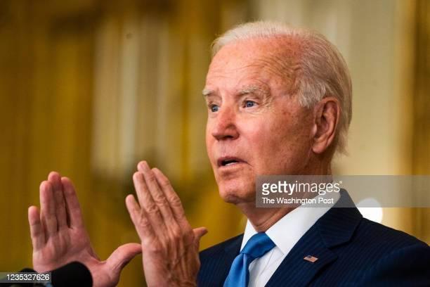 September 16, 2021: President Joe Biden delivers remarks regarding the economy from the East Room of the White House on September 16, 2021.