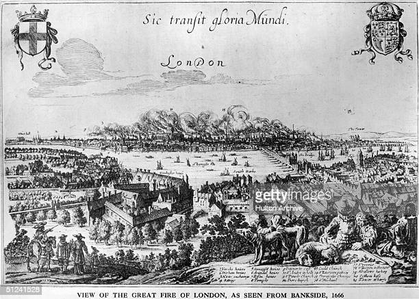 September 1666 A group of people with their dogs sit and watch the Great Fire of London from Bankside south London Fire and smoke cover central...