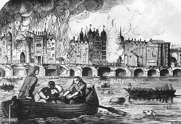 September 1666 London Bridge on fire during the great fire of London