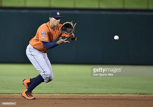 September 17th 2015 Houston Astros shortstop Carlos Correa fields a ground ball during a game between the Houston Astros and the Texas Rangers at...
