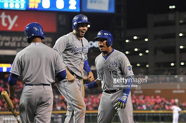 Kansas City Royals catcher Salvador Perez celebrates with Kansas City Royals first baseman Eric Hosmer following his game tying two run homer in the...