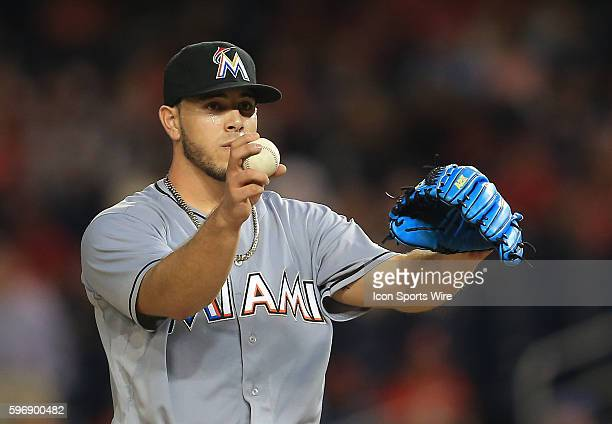 Miami Marlins starting pitcher Jose Fernandez during a MLB game against the Washington Nationals at Nationals Park in Washington DC Nationals won 54...