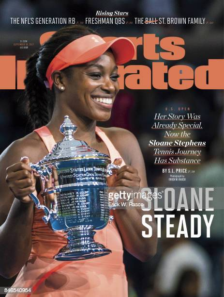 September 18 2017 Sports Illustrated via Getty Images Cover US Open USA Sloane Stephens victorious holding up US Open trophy after winning Women's...