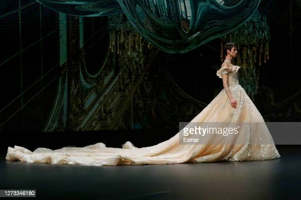 September 18: A model walks the runway during the The Atelier show as part of the Valmont Barcelona Bridal Fashion Week 2020 on September 18, 2020 in...