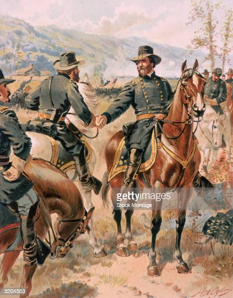 US Civil War 18611865 Union Major General George Thomas confers with an officer during the Battle of Chicamauga Georgia 1920 Sept 1863 One of the...