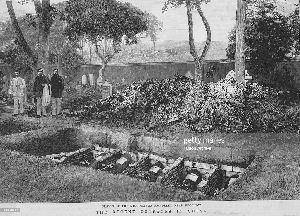 Graves of Christian Missionaries murdered near Foochow, China. Wreaths and flowers are piled up beside the open graves. Graphic - pub. 1895