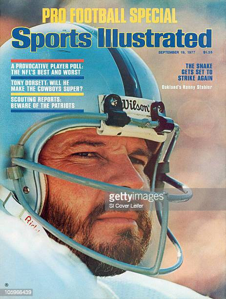 September 19 1977 Sports Illustrated Cover Football Super Bowl XI Closeup of Oakland Raiders QB Ken Stabler on sidelines bench during game vs...