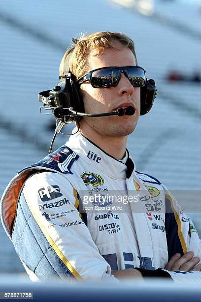 Chase points leader, Brad Keselowski, driver of the Miller Lite Ford during qualifying for the Sprint Cup Series Sylvania 300 at New Hampshire Motor...