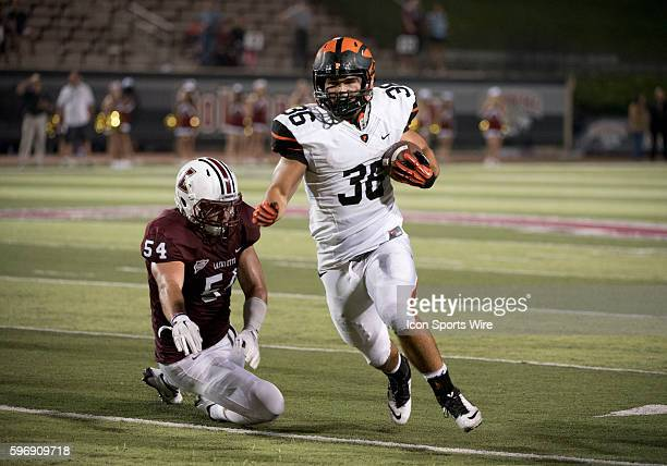 Joe Rhattigan carries the ball for a touchdown in the second half during the game between the Princeton Tigers and Lafayette Leopards at Fisher...