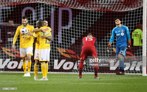 TORONTO ON September 19 In second half action the Tigres celebrate Toronto FC goalkeeper Alex Bono putting the ball in his own net The TFC lost to...