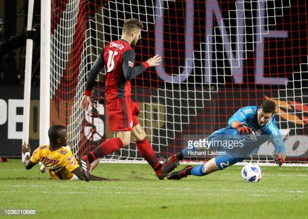 TORONTO ON September 19 In second half action Toronto FC goalkeeper Alex Bono makes a save The TFC lost to the Tigres UANL in the inaugural Campeones...