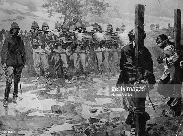 In Tientsin British soldiers administer rough justice by firing squad during the Boxer Rebellion Original Artwork Painting F De Haenen after a...
