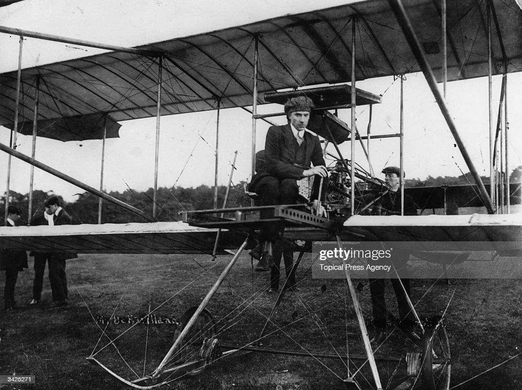 British aircraft designer, Sir Geoffrey de Havilland sitting