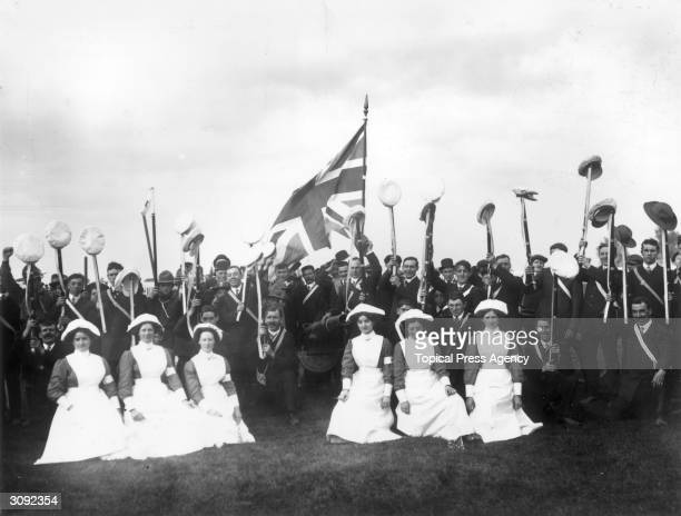 Naval and ambulance corps cheer their leader at an Anti-Home Rule demonstration at Portadown, County Armagh.