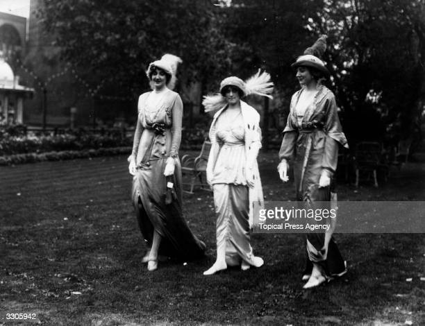 Ladies modelling the latest fashions from Paris