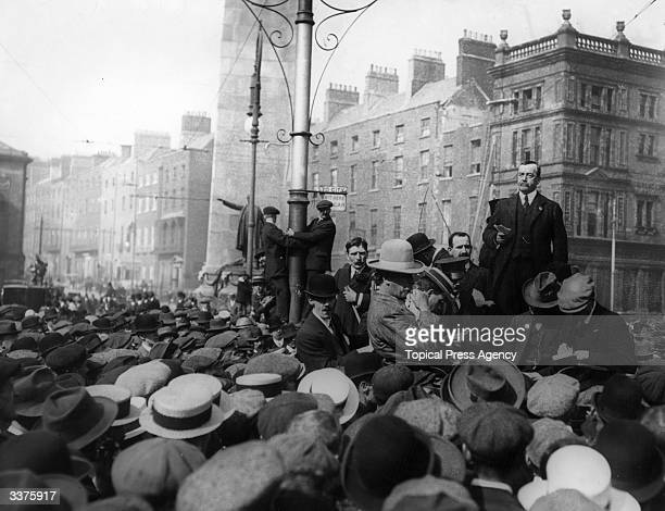 Scottish Labour politician Arthur Henderson reading a message from Ramsay MacDonald at a trade union meeting at O'Connell Street, Dublin.