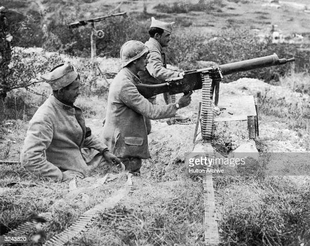 French soldiers use captured German Maschinengewehr 08 machine guns during the battle of the Marne in France during World War I.